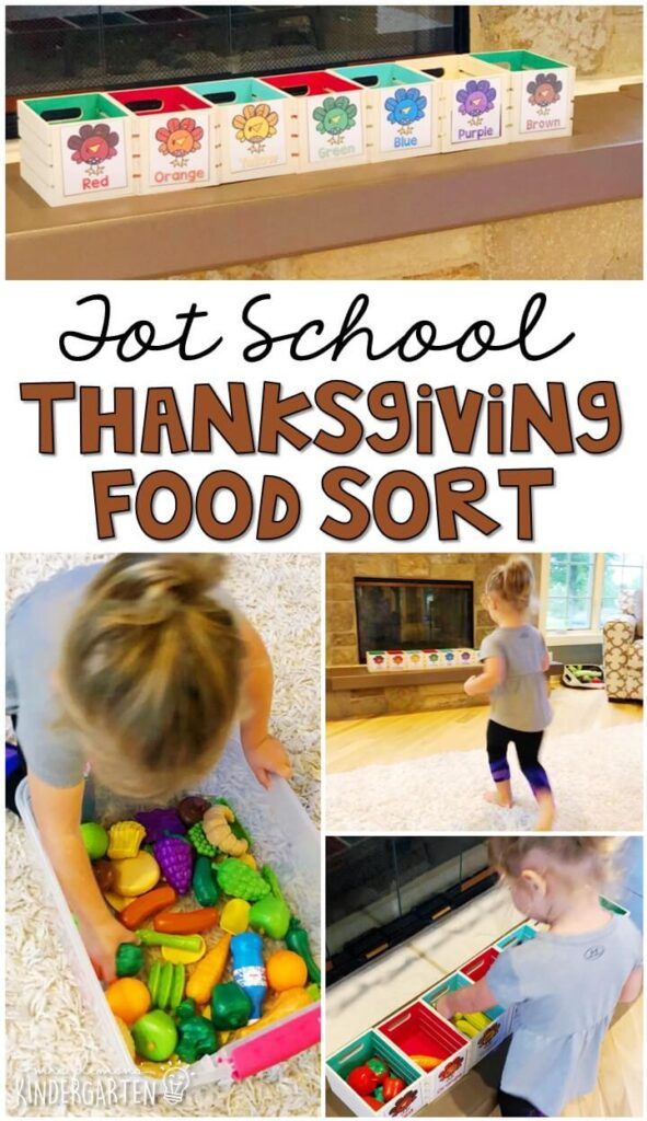 Learning is more fun when it involves movement! Practice sorting colors with this food sorting relay race. Great for a Thanksgiving theme in tot school, preschool, or even kindergarten!