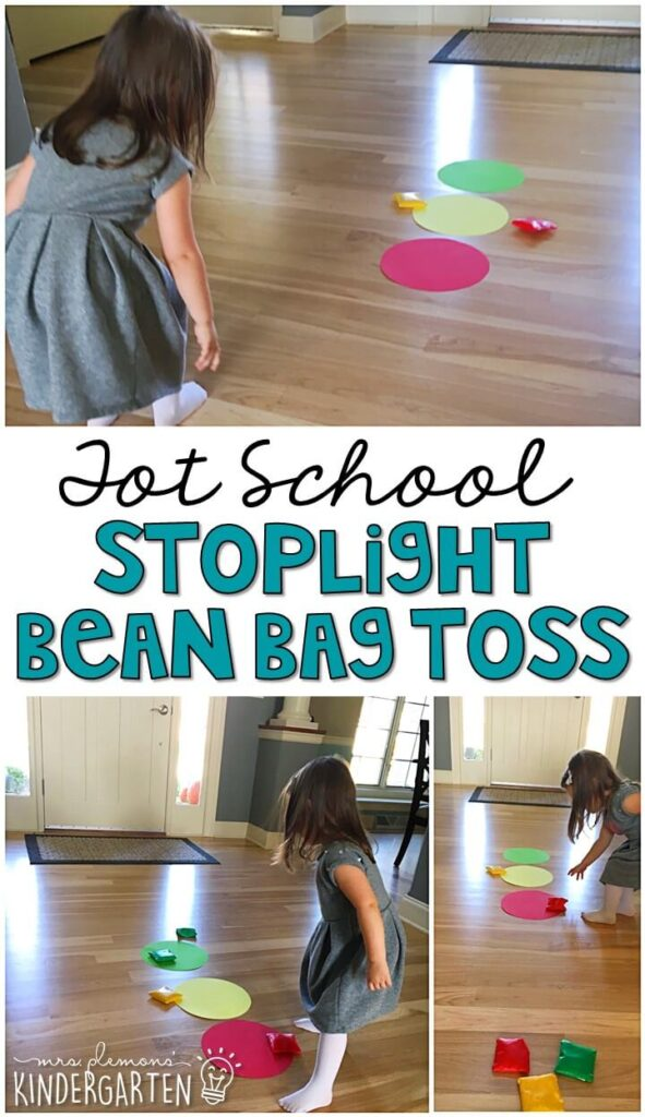 Learning is more fun when it involves movement! This stoplight bean bag toss was an easy and fun gross motor activity for our transportation theme. Great for tot school, preschool, or even kindergarten!