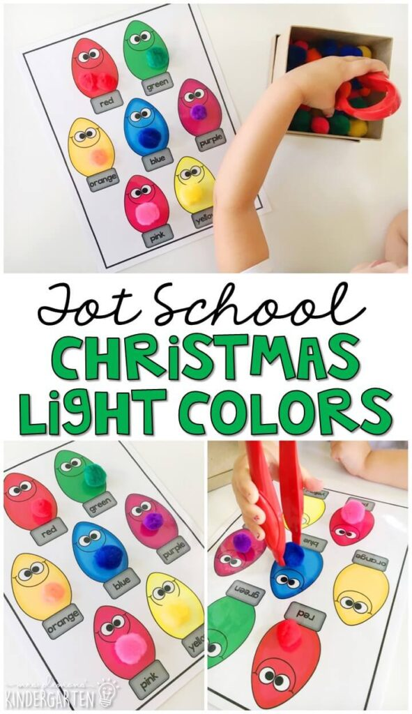 We combined fine motor and color matching practice with this Christmas light color matching activity. Great for Christmas time in tot school, preschool, or even kindergarten!