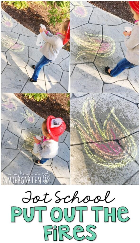 Learning is more fun when it involves movement! Head outside and draw some fire on the ground, then combine fine and gross motor skills to run around and spray each fire. Great for tot school, preschool, or even kindergarten!