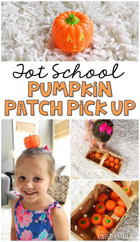 Learning is more fun when it involves movement! Practice balance with this pumpkin patch pick up gross motor game. Great for tot school, preschool, or even kindergarten!