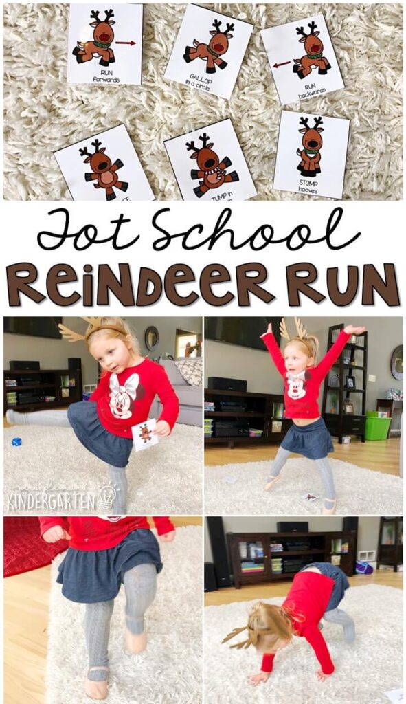 Learning is more fun when it involves movement! Reindeer run was such a fun gross motor activity. Great for Christmas time in tot school, preschool, or even kindergarten!