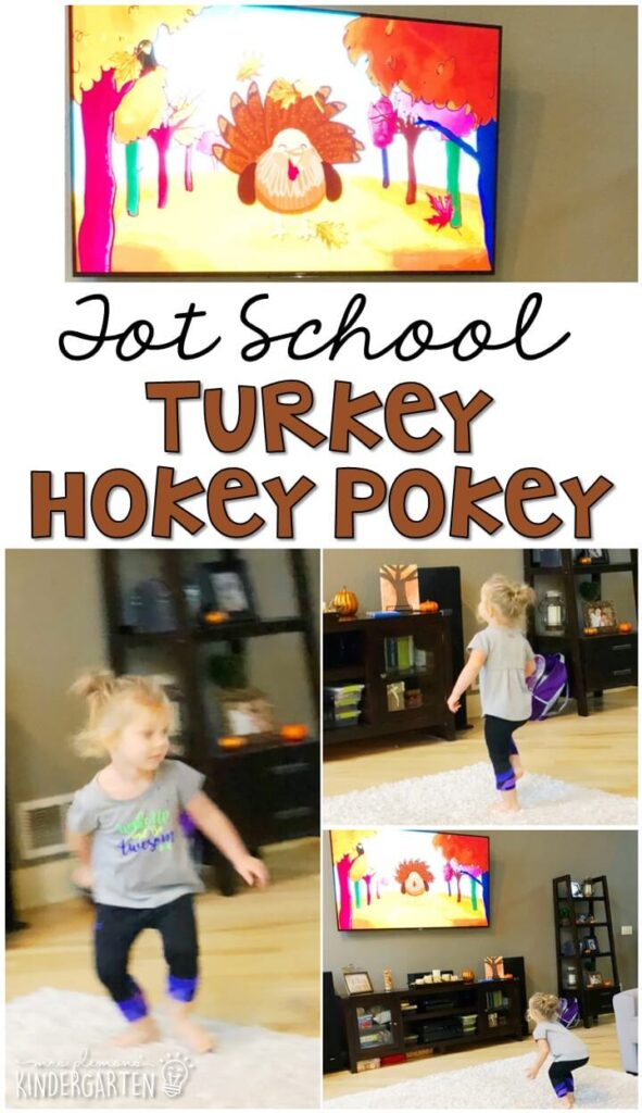 Learning is more fun when it involves movement! This turkey hokey pokey song is perfect for gross motor fun with a Thanksgiving theme. Great for tot school, preschool, or even kindergarten!