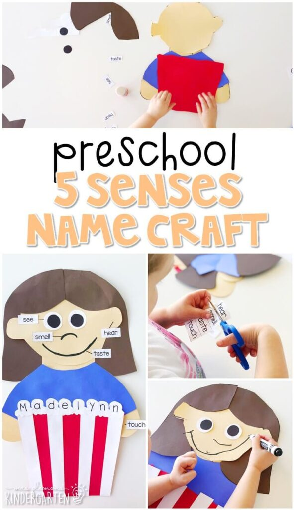 This 5 senses name craftivity is fun for name writing, recognition, and fine motor practice with a 5 senses theme. Great for tot school, preschool, or even kindergarten!