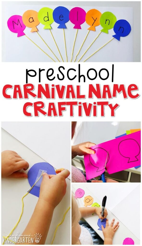 This carnival name craftivity is fun for name writing, recognition, and fine motor practice with a carnival theme. Great for tot school, preschool, or even kindergarten!