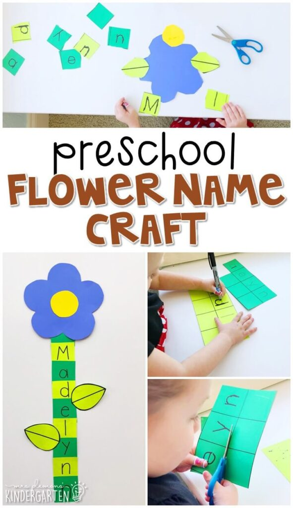 This flower name craftivity is fun for name writing, recognition, and fine motor practice with a plant theme. Great for tot school, preschool, or even kindergarten!