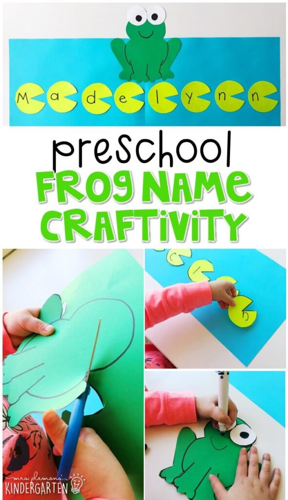 This frog name craftivity is fun for name writing, recognition, and fine motor practice with a frog theme. Great for tot school, preschool, or even kindergarten!