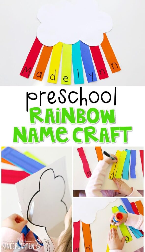 This rainbow name craftivity is fun for name writing, recognition, and fine motor practice with a St. Patrick's Day theme. Great for spring in tot school, preschool, or even kindergarten!