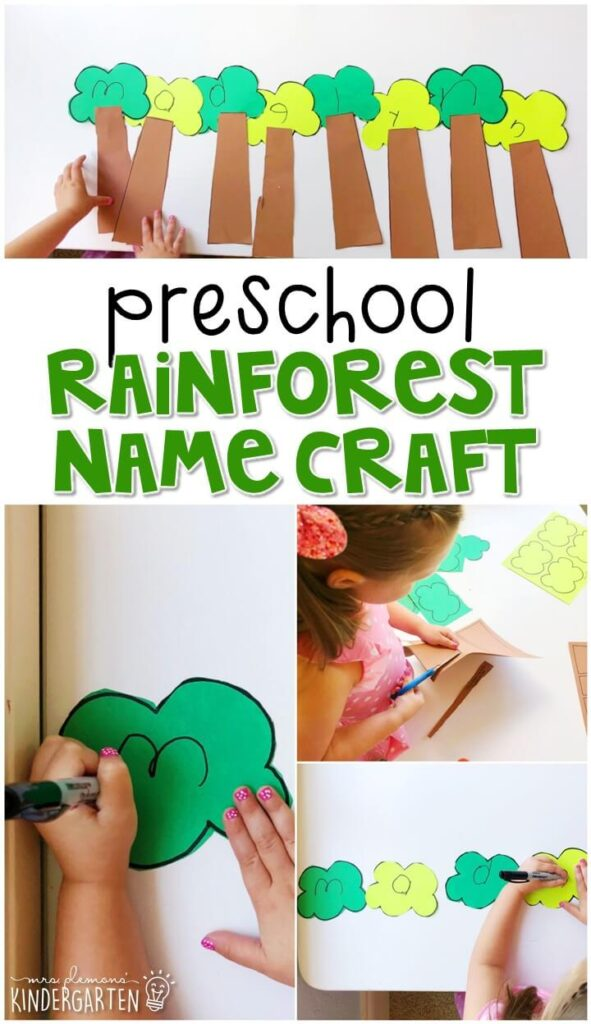 This rainforest name craftivity is fun for name writing, recognition, and fine motor practice with a rainforest theme. Great for spring in tot school, preschool, or even kindergarten!