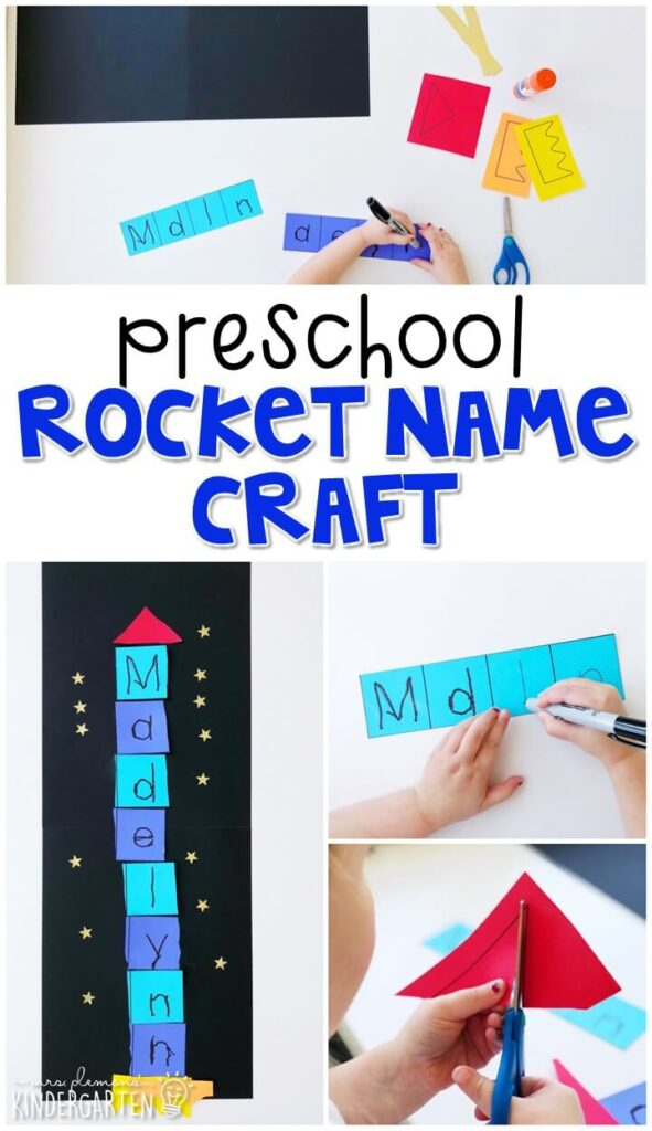 This rocket name craftivity is fun for name writing, recognition, and fine motor practice with a space theme. Great for tot school, preschool, or even kindergarten!