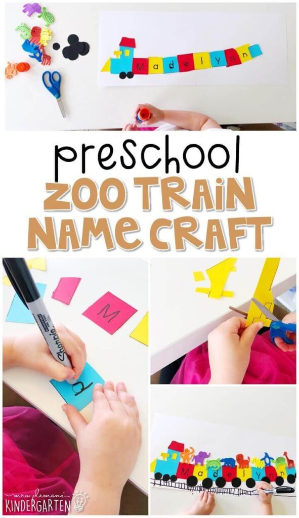 This zoo train name craftivity is fun for name writing, recognition, and fine motor practice with a zoo theme. Great for tot school, preschool, or even kindergarten!