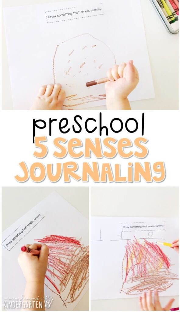 This five senses journal writing activity is a great way to show learning, practice fine motor skills and learn about writing. Great for tot school, preschool, or even kindergarten!