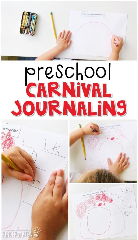 This carnival journal writing activity is a great way to show learning, practice fine motor skills and learn about writing. Great for tot school, preschool, or even kindergarten!