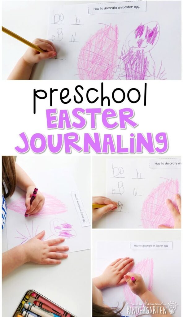 This Easter journal writing activity is a great way to show learning, practice fine motor skills and learn about writing. Great for spring in tot school, preschool, or even kindergarten!