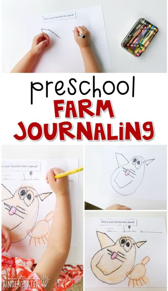 This farm journal writing activity is a great way to show learning, practice fine motor skills and learn about writing. Great for tot school, preschool, or even kindergarten!