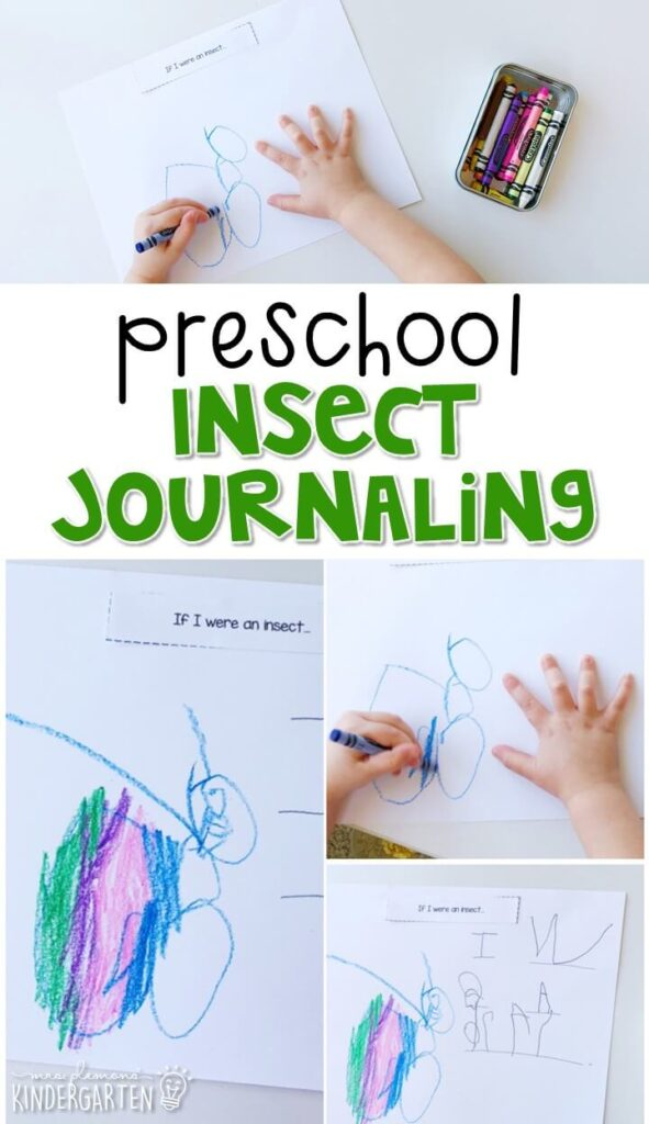 This insect journal writing activity is a great way to show learning, practice fine motor skills and learn about writing. Great for an insect theme tot school, preschool, or even kindergarten!