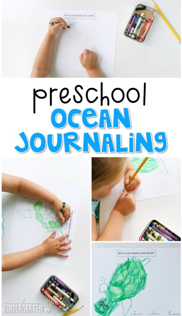 This ocean journal writing activity is a great way to show learning, practice fine motor skills and learn about writing. Great for tot school, preschool, or even kindergarten!