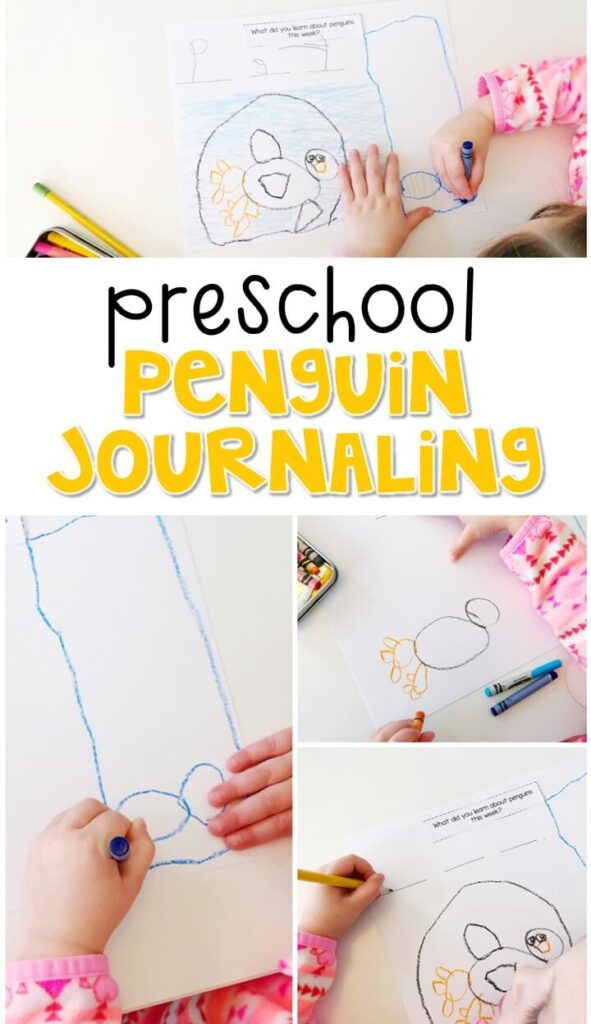 This penguin journal writing activity is a great way to show learning, practice fine motor skills and learn about writing. Great for winter tot school, preschool, or even kindergarten!