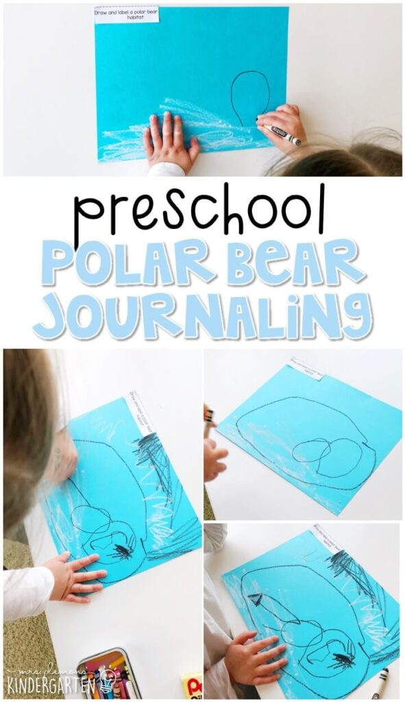 This polar bear journal writing activity is a great way to show learning, practice fine motor skills and learn about writing. Great for winter in tot school, preschool, or even kindergarten!
