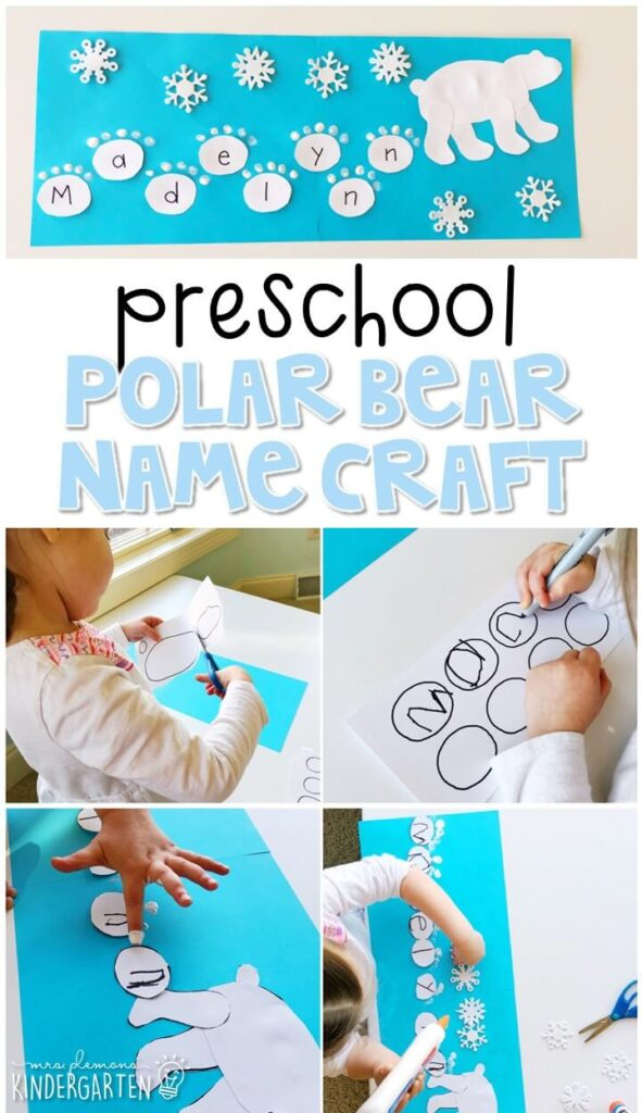 This polar bear name craftivity is fun for name writing, recognition, and fine motor practice with a winter theme. Great for tot school, preschool, or even kindergarten!