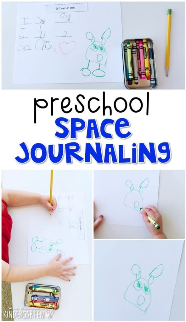 This space journal writing activity is a great way to show learning, practice fine motor skills and learn about writing. Great for tot school, preschool, or even kindergarten!