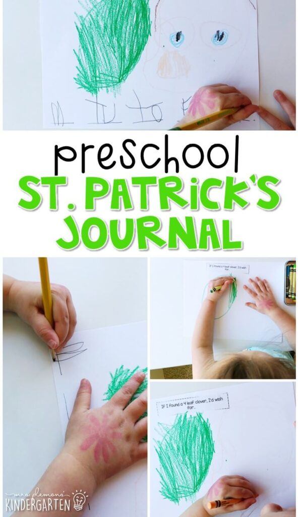 This St. Patrick's Day journal writing activity is a great way to show learning, practice fine motor skills and learn about writing. Great spring in for tot school, preschool, or even kindergarten!