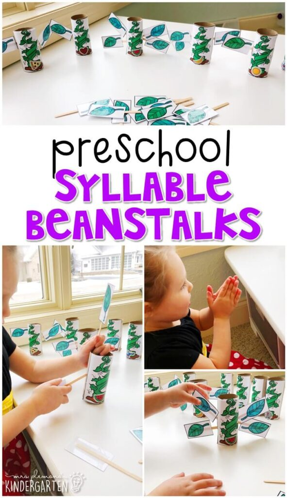 This syllable beanstalk activity was such a fun interactive way to work on syllables and fine motor skills with a fairy tale theme. Great for tot school, preschool, or even kindergarten!