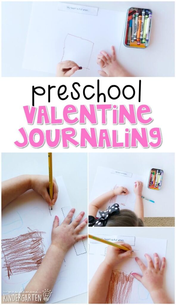 This valentines journal writing activity is a great way to show learning, practice fine motor skills and learn about writing. Great for tot school, preschool, or even kindergarten!