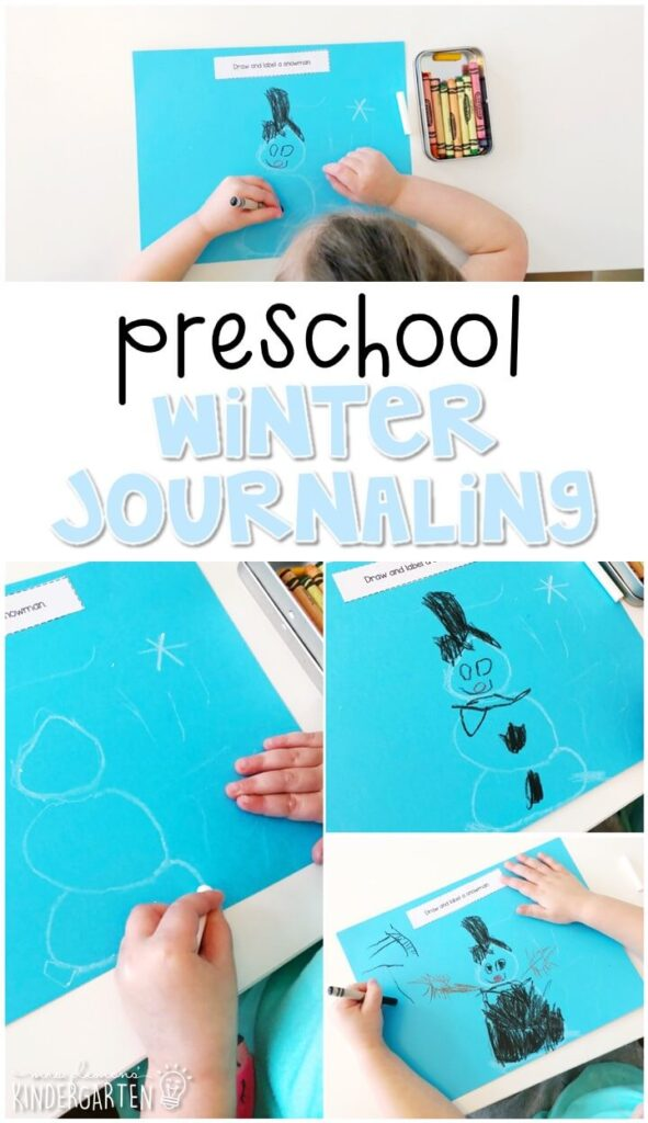 This winter journal writing activity is a great way to show learning, practice fine motor skills and learn about writing. Great for tot school, preschool, or even kindergarten!