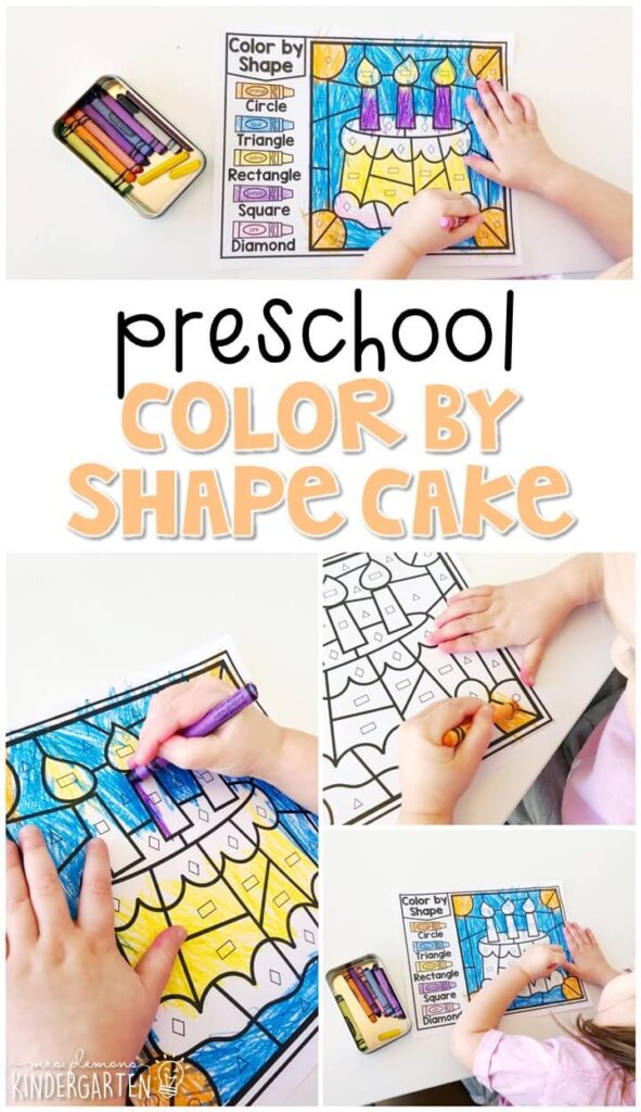 This color by shape cake activity is perfect for identifying and naming shapes and fine motor practice with a five senses theme. Great for tot school, preschool, or even kindergarten!