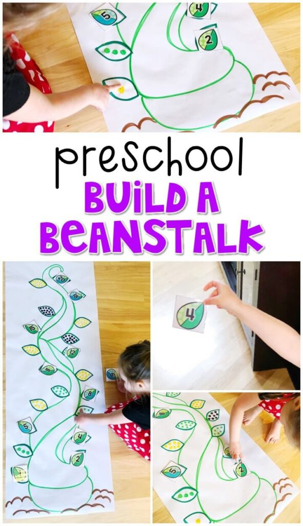 This build a beanstalk math activity was a fun way to get moving and focus on identifying number 1-30 with a fairy tale theme. Great for tot school, preschool, or even kindergarten!
