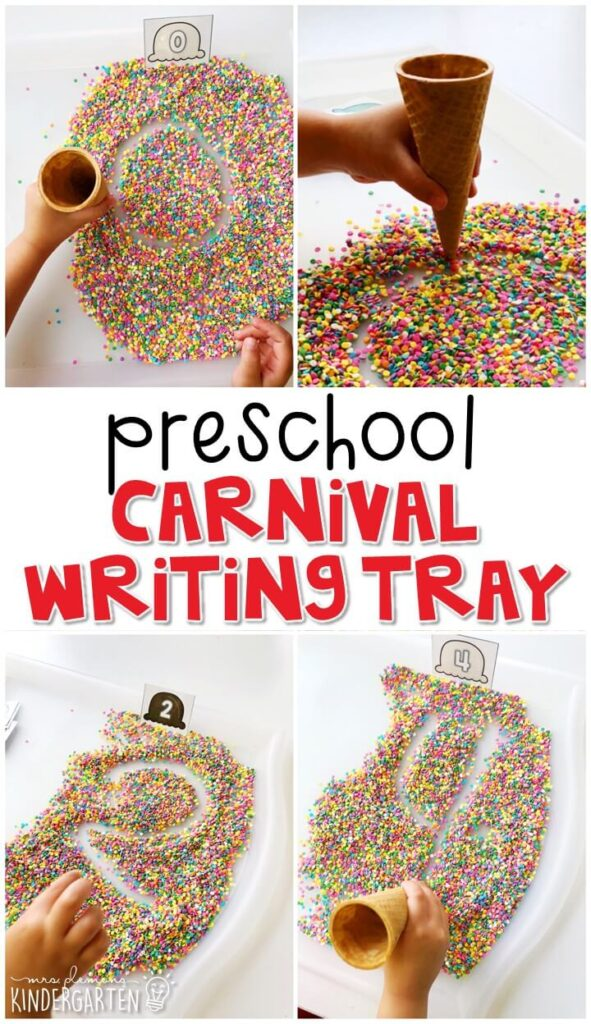 This carnival themed writing tray is great for number writing and fine motor practice with a carnival theme. Great for tot school, preschool, or even kindergarten!