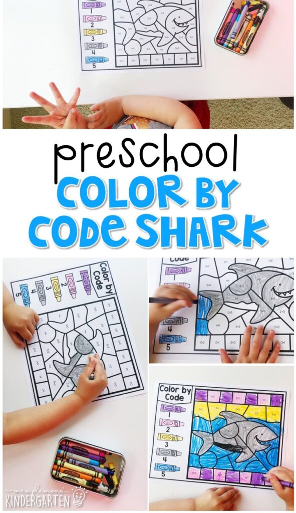 This color by code shark activity is fun for addition and fine motor practice with an ocean theme. Great for tot school, preschool, or even kindergarten!
