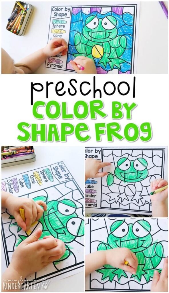 This color by shape frog activity is fun for geometry and fine motor practice with a frog theme. Great for spring in tot school, preschool, or even kindergarten!