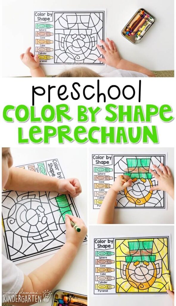 This color by shape leprechaun activity is fun for geometry and fine motor practice with a St. Patrick's Day theme. Great for spring in tot school, preschool, or even kindergarten!