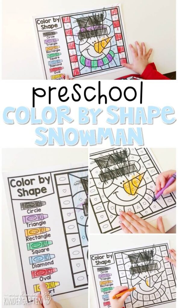 This color by shape snowman activity is perfect for identifying and naming shapes and fine motor practice with a winter theme. Great for tot school, preschool, or even kindergarten!