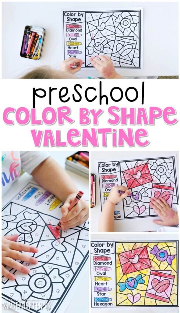 This color by shape valentine is fun for number sense and fine motor practice with a valentine theme. Great for tot school, preschool, or even kindergarten!