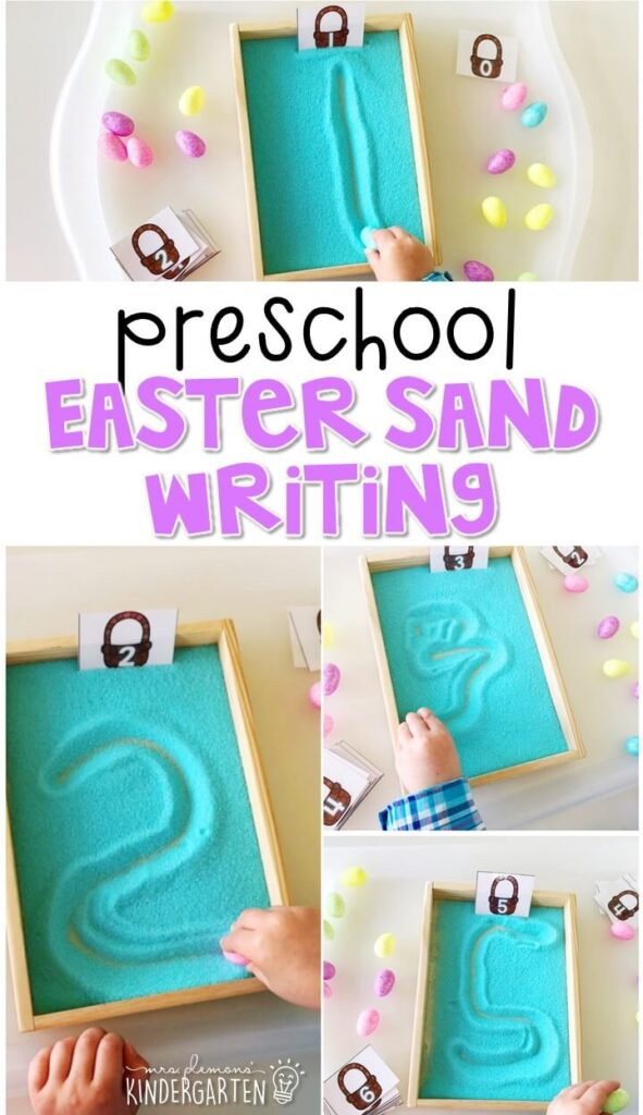 This Easter themed writing tray is great for number writing and fine motor practice with an Easter theme. Great for spring in tot school, preschool, or even kindergarten!