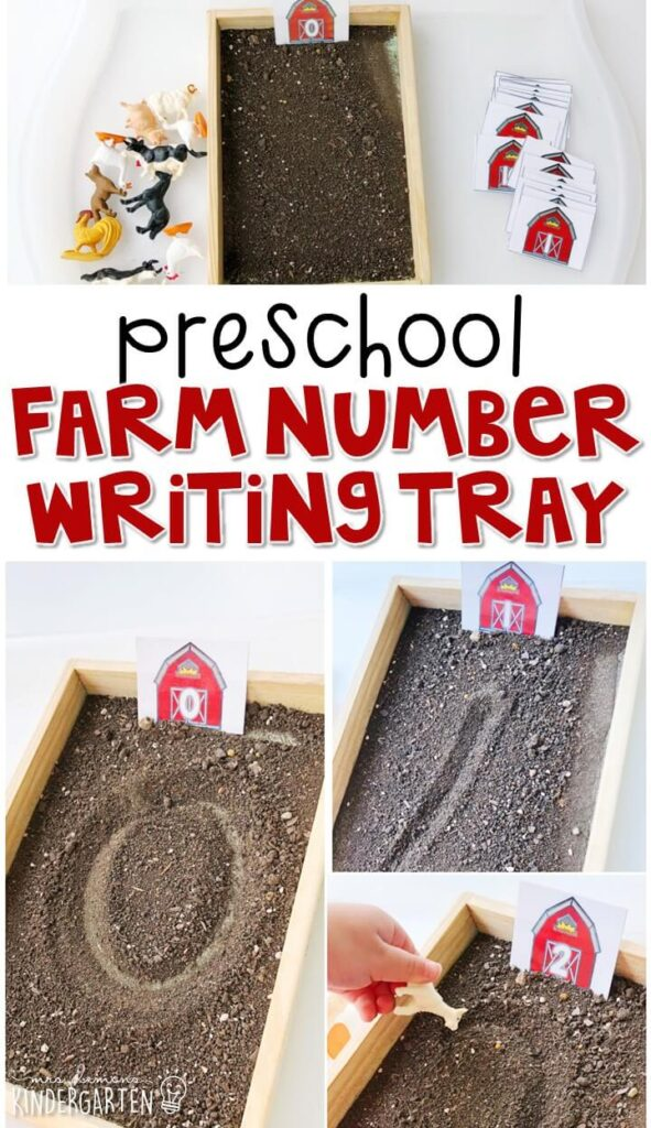 This farm themed writing tray is great for number writing and fine motor practice with a farm theme. Great for tot school, preschool, or even kindergarten!