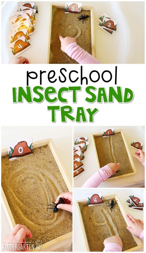 We LOVE this insect sensory bin. Perfect for exploration with an insect theme in tot school, preschool, or even kindergarten!