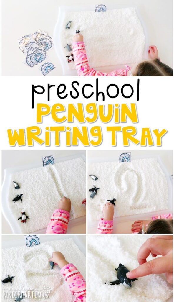 This penguin themed writing tray is great for number writing and fine motor practice with a reindeer theme. Great for a winter theme in tot school, preschool, or even kindergarten!
