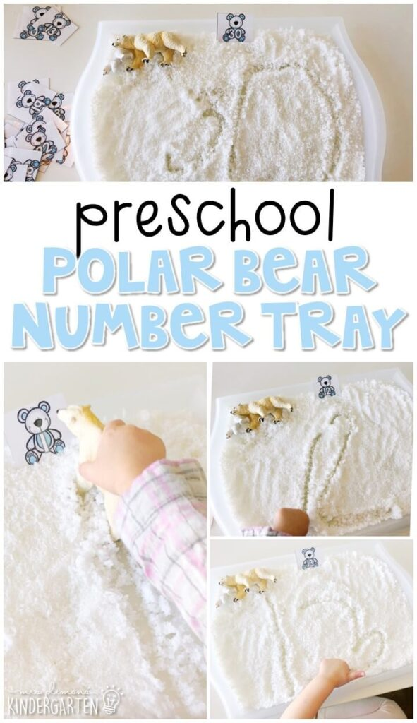 This polar bear themed writing tray is great for number writing and fine motor practice with a winter theme. Great for tot school, preschool, or even kindergarten!