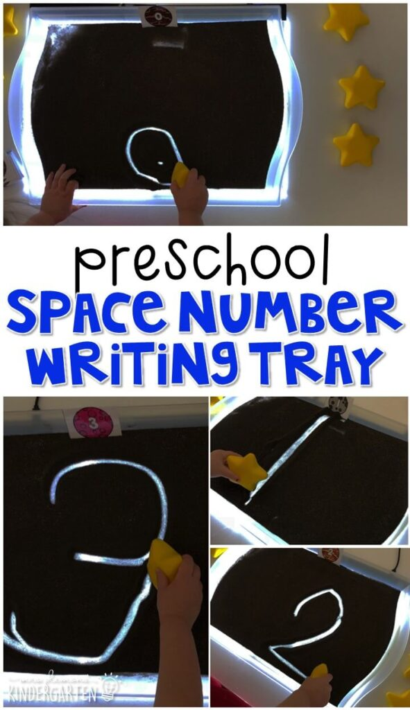 This space themed writing tray is great for number writing and fine motor practice with a space theme. Great for tot school, preschool, or even kindergarten!