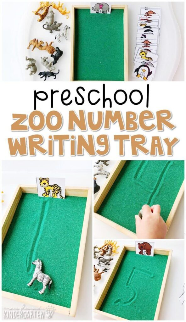 This zoo themed writing tray is great for number writing and fine motor practice with a zoo theme. Great for tot school, preschool, or even kindergarten!