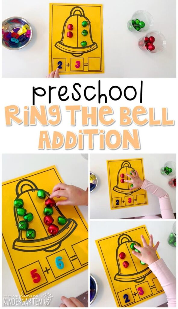 Practice beginning addition with this hands on ring the bell activity. Perfect for a five senses theme in tot school, preschool, or even kindergarten!