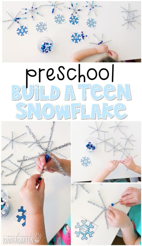 Practice counting teen numbers and fine motor skills with this build a teen snowflake. Perfect for a winter theme in tot school, preschool, or even kindergarten!