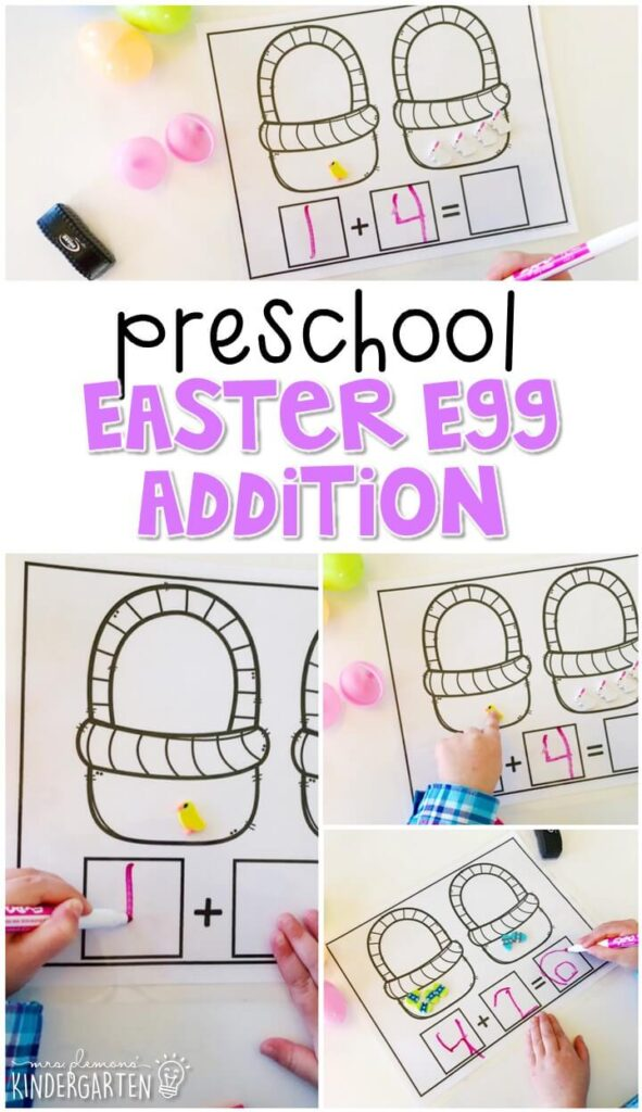 Practice addition with this Easter egg addition mat. Perfect for spring in tot school, preschool, or even kindergarten!