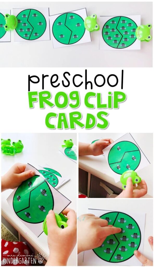 Practice counting and fine motor skills with these frog clip cards. Perfect for a frog theme in tot school, preschool, or even kindergarten!