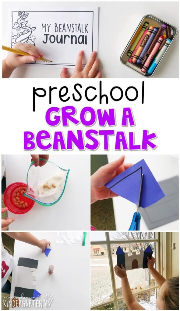 This grow a beanstalk craft and science activity was a fun way to explore science concepts with a magical fairy tale theme. Great for tot school, preschool, or even kindergarten!