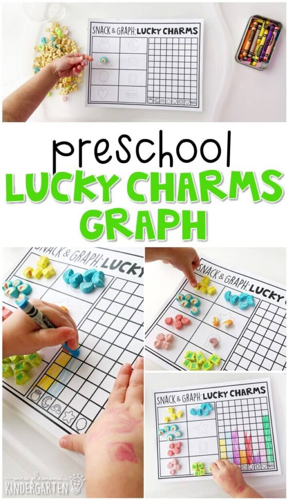 Play, learn and snack all at the same time with this lucky charm graphing activity. Perfect for a St. Patrick's Day theme in tot school, preschool, or even kindergarten!